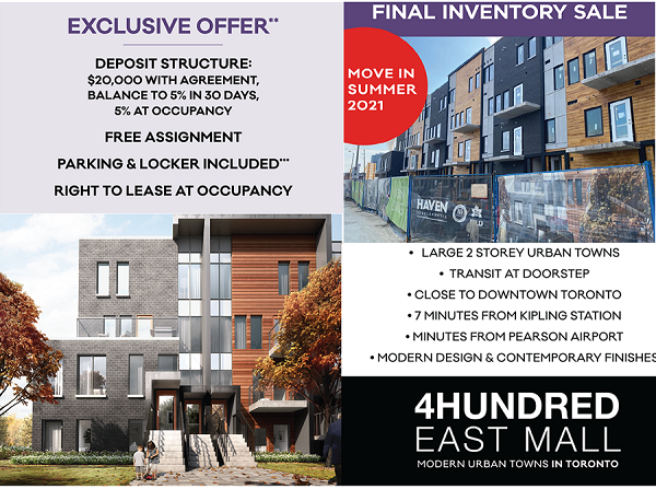 Etobicoke Modern urban Towns Final Inventory Sale